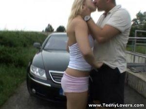 6 Min Teeny Lovers Sporty Blonde Outdoor Fuck Film