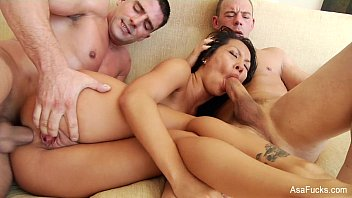 Cute Pornstar Asa Akira Fucking With Two Guys